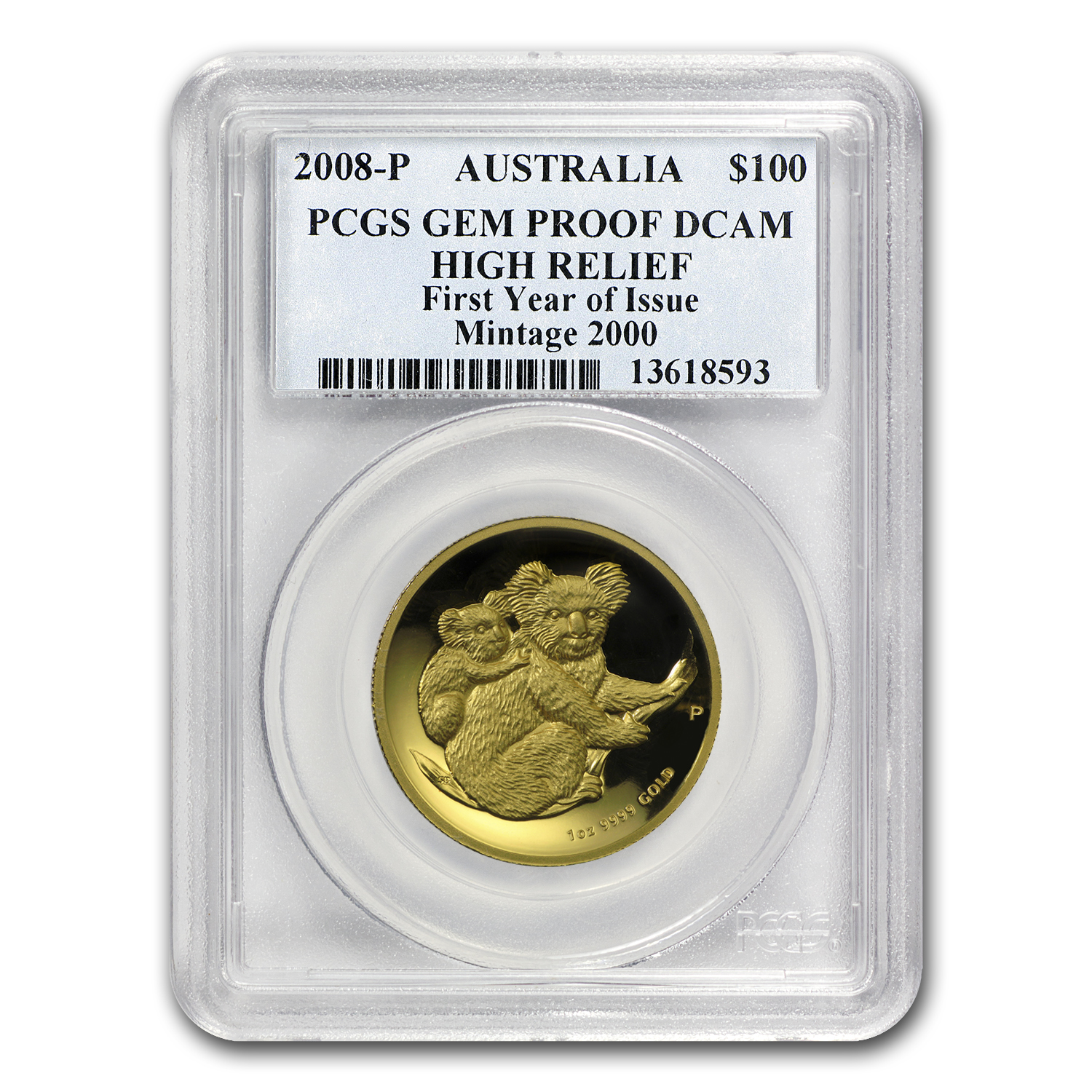2008-P Australia 1 oz Gold Koala Gem Prf PCGS (High Relief)
